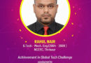 Mr. Rahul Nair has won the Global Tech Challenge conducted by Johnson Controls at Milwaukee, Wisconsin, US