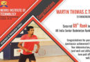 69th Rank in All India Senior Badminton Rankings – Nehru Institute of Technology